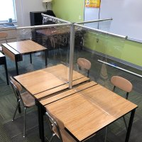 BarriClear™ 4-Way Vinyl School Desk Shield / Sneeze Guard