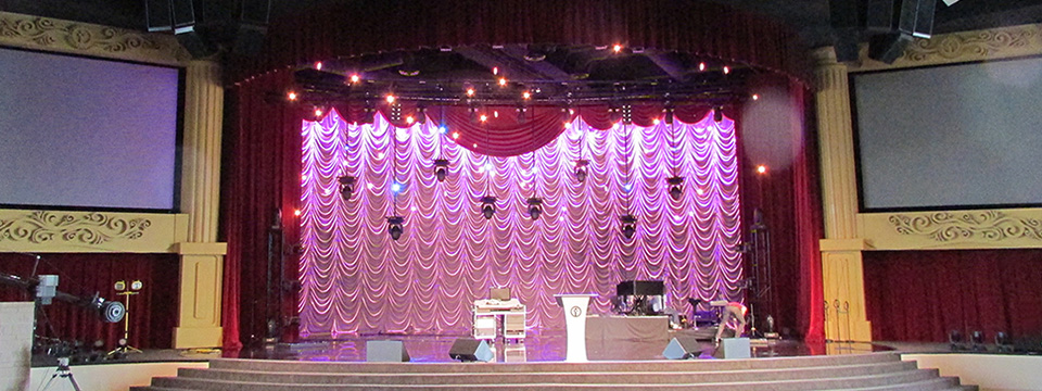 Modern Church Stage with Austrian Curtain Backdrop
