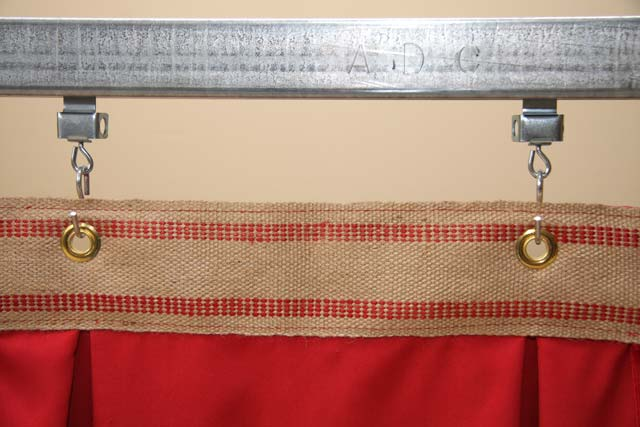 Standard top finish 3.5  Jute webbing with #4 Grommets 12  O.C.; supplied with 2  zinc plated s-hook. Allows drape to be hung from track or rod. & Frequently Asked Questions (FAQ)   Georgia Stage