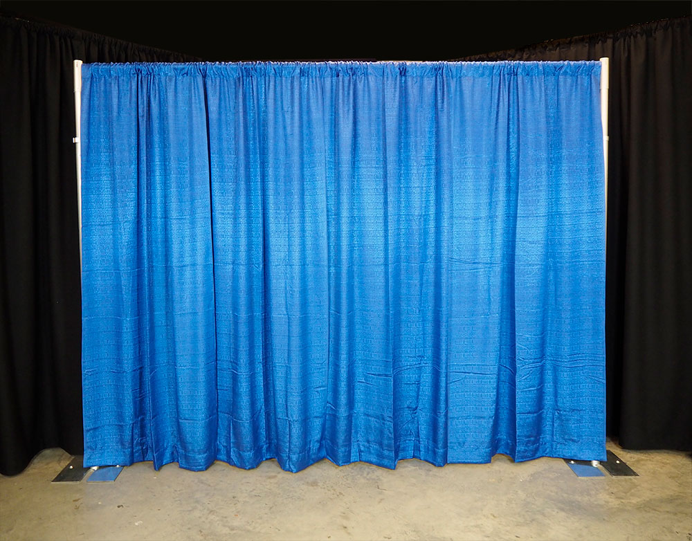 pipe and drape display with 50% fullness