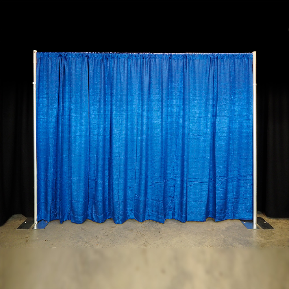 Banjo pipe and drape backdrop in royal blue